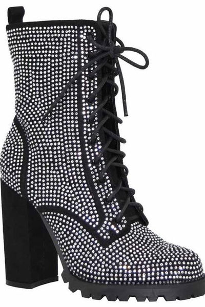 Rhinestone Lace Up Bootie with Heel