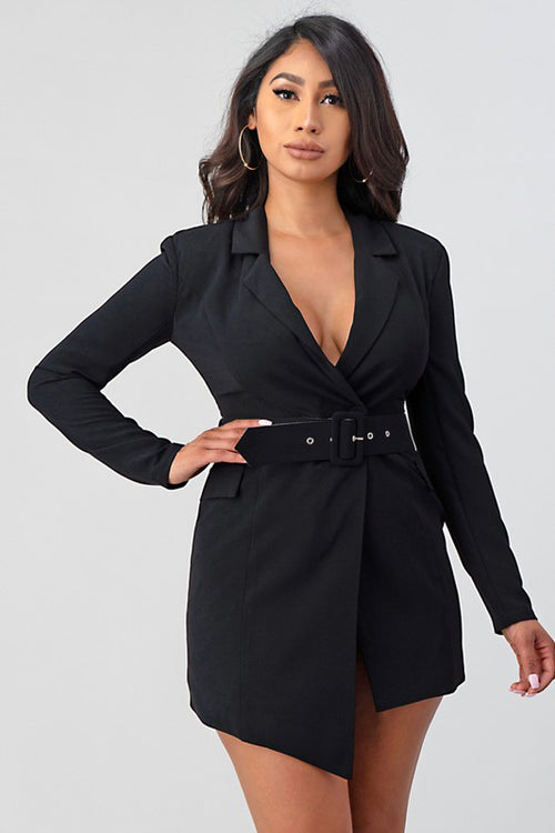 Suit Jacket Dress with Belt