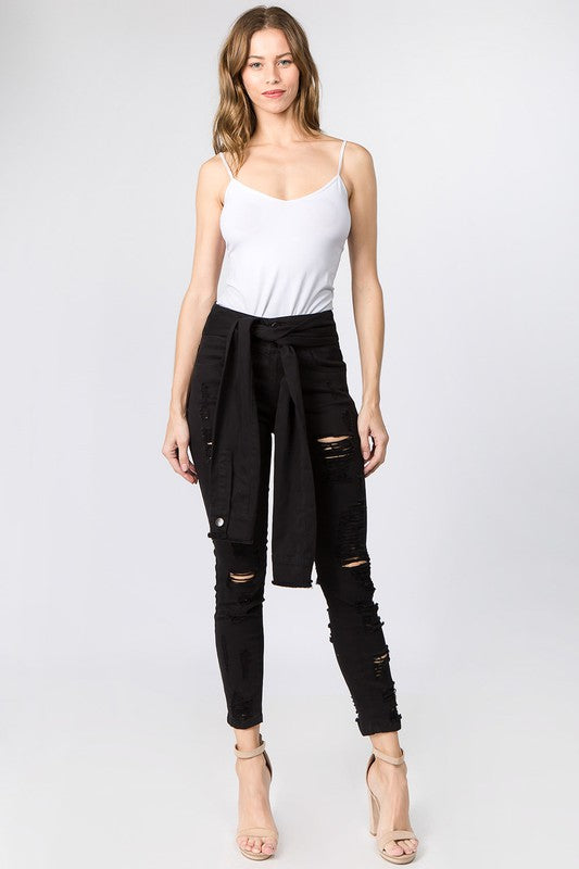 Ripped Jean with Sleeve Belt