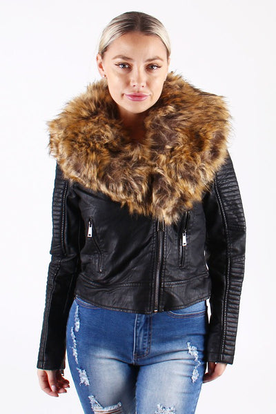 Colorful Leather Biker Jacket with Fur
