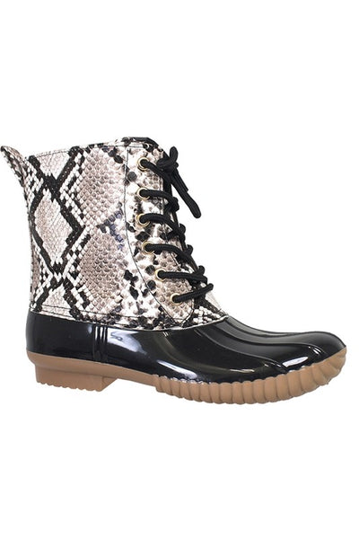 Snake Lace Up Rain Boot