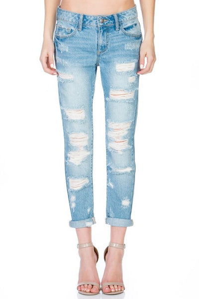 Mid Rise Destroyed Slime Straight Jeans with Denim Rolled Cuff