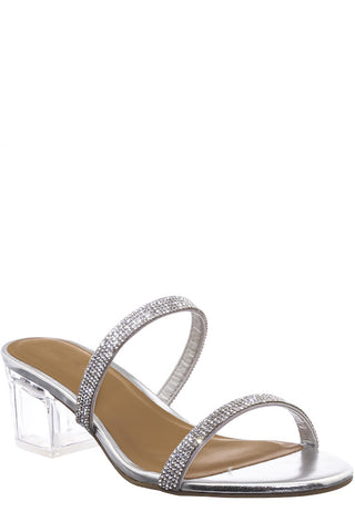 Two-Band Rhinestone Strap and Lucite Block Heel