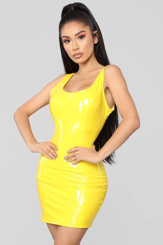 Reversible Latex Mini Dress