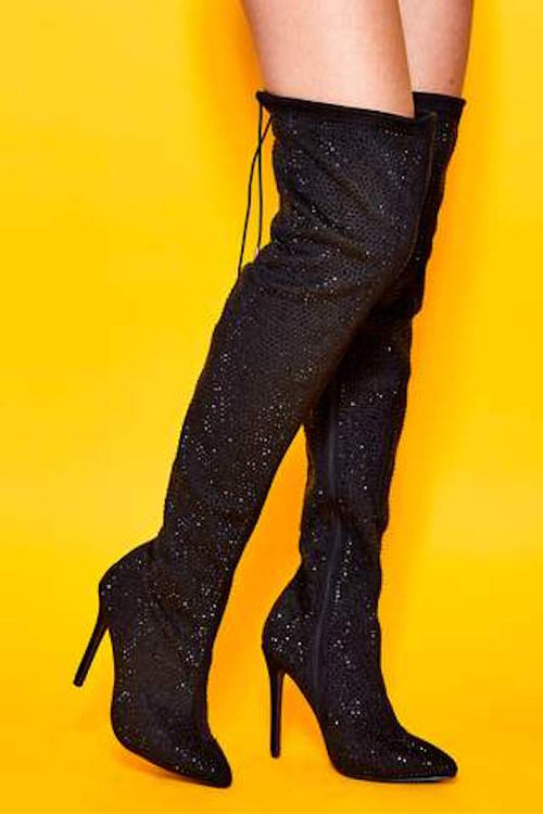 Rhinestone Thigh High Boot