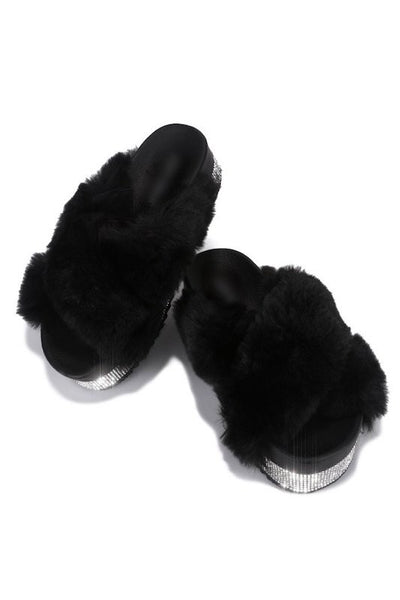 Criss Cross Furry Sandals with Rhinestones