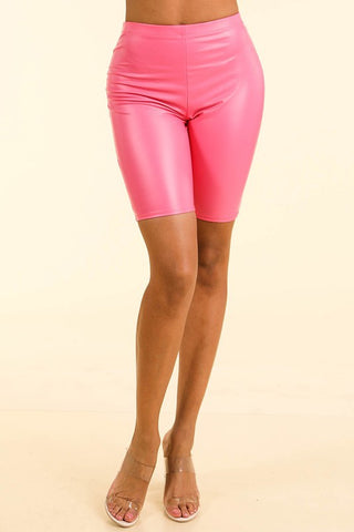 Satin PU Biker Shorts