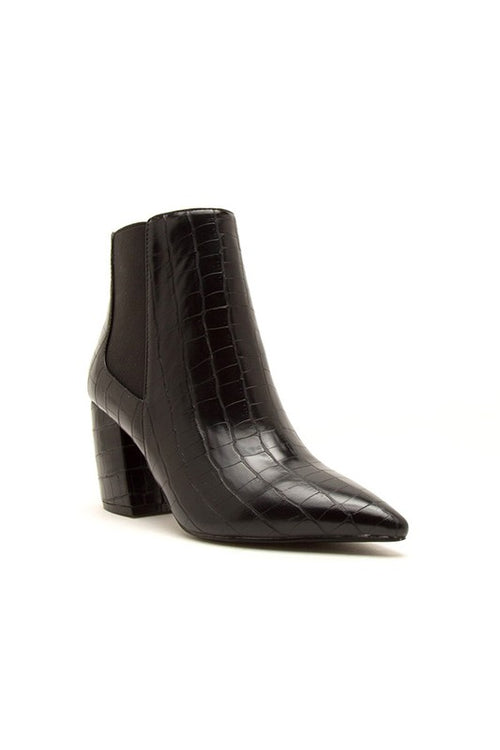 Pointy Thick Heel Crocodile Bootie with Elastic
