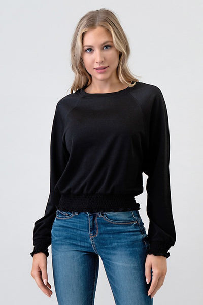 Smocking Band French Terry Pullover Top
