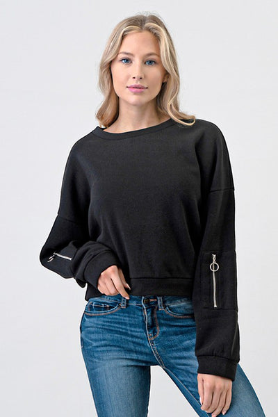 Long Sleeve Fleece Top with Sleeve Pocket Detail