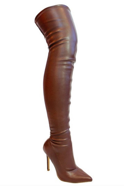 Stretch Thigh High Pointy Toe Boot with Heel