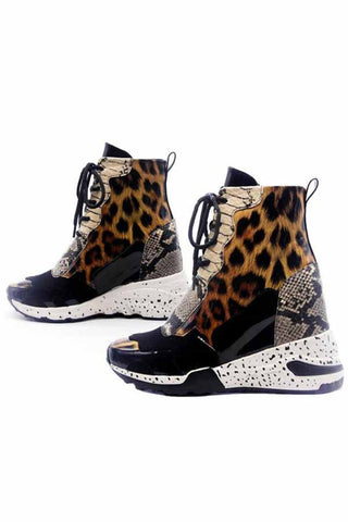 Leopard Chunky Dad Sneaker Ankle Boots