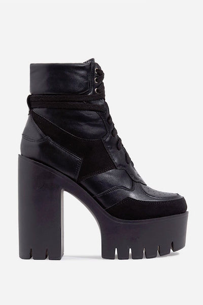 Thick Heel Lace Up Bootie