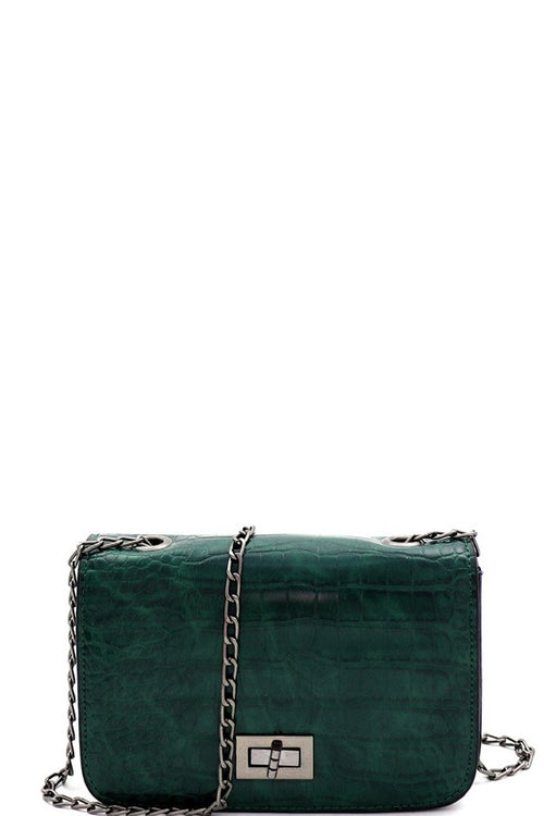 Crocodile Print Tun-lock Small Crossbody Bag