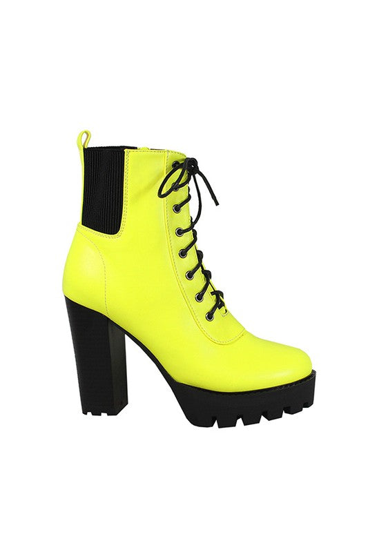 Thick Sole Lace Up Ankle Boot