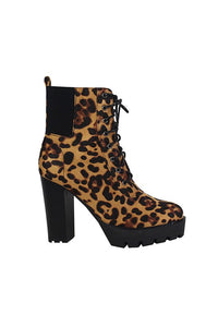 Leopard Thick Sole Lace Up Ankle Boot