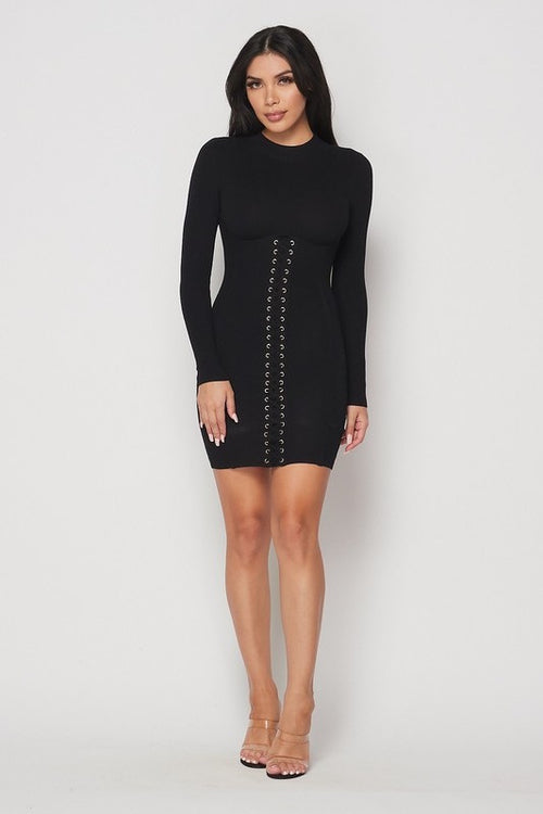 Long Sleeve Front Lace Ribbed Dress