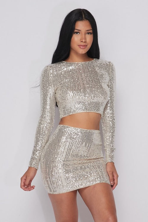 Sequin Top & Skirt Set