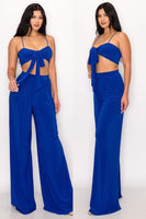 Front Tie Top & Wide Leg Pant Set