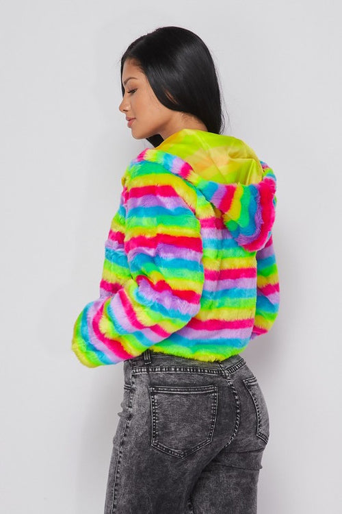 Short Stripe Furry Jacket