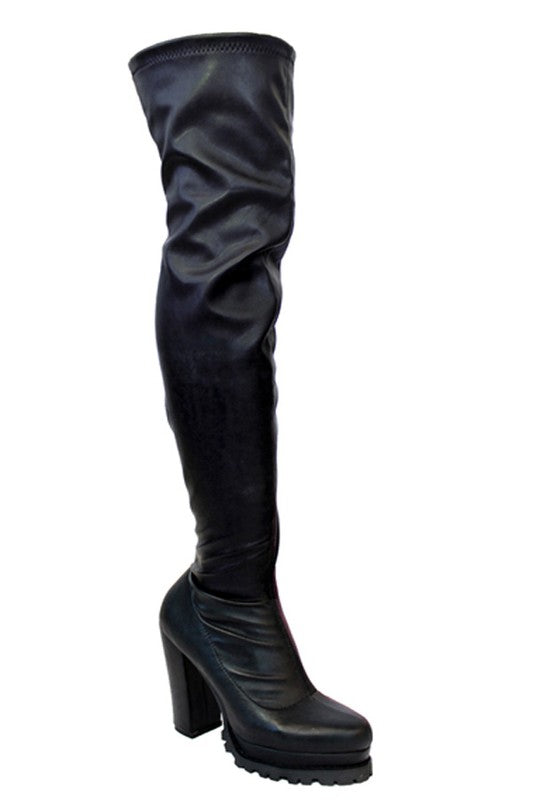 Rugged Over The Knee Boot with Heel