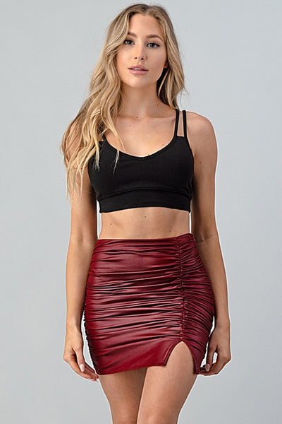 PU Gathered Mini Skirt