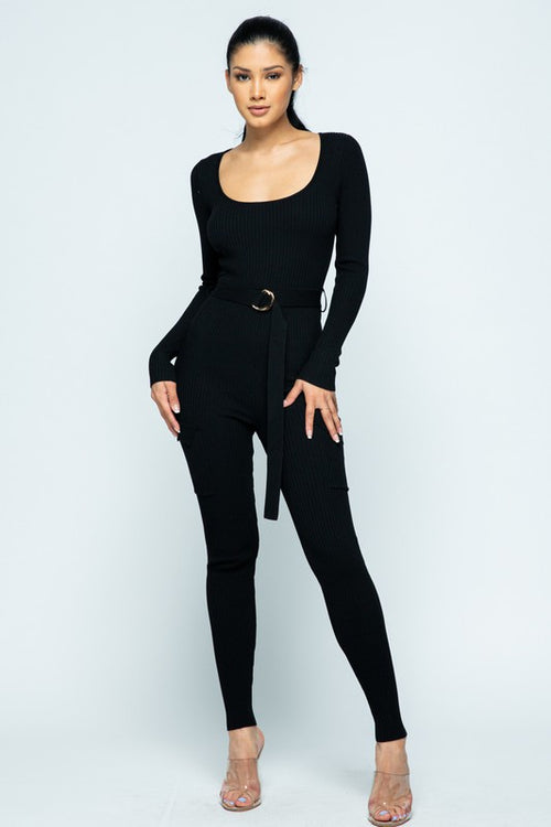 Ribbed Long Sleeve Jumpsuit