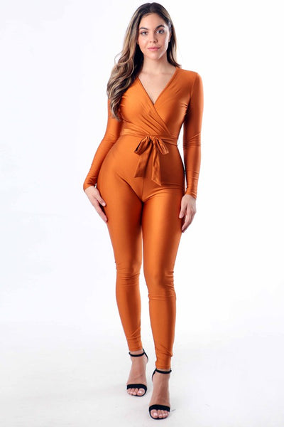Skinny Leg Jumpsuit with Tie Waist