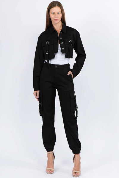 Cropped Jacket and Cargo Jogger Set
