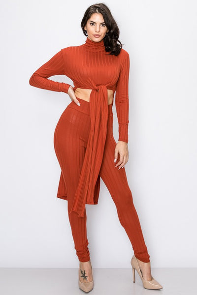 Ribbed Front Tie Top & Pants Set