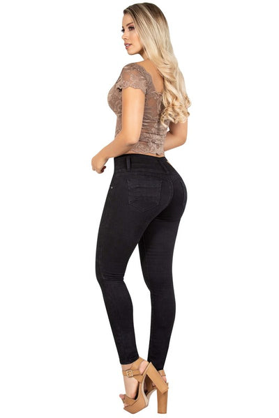 3 Button High Waist Skinny Jean