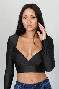 Long Sleeve Crossover Front Crop Top