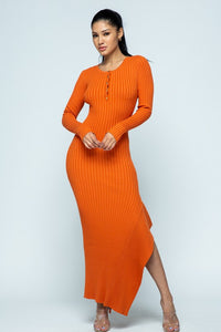 Side Flare Ribbed Long Sleeve Maxi Dress