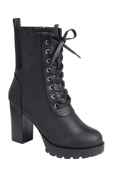 Combat Boot with Thick Heel