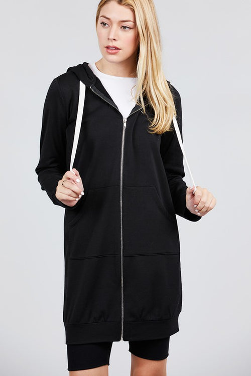 Long Sleeve Long Hoodie with Zipper