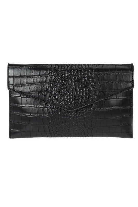 Folded Crocodile Clutch with Chain Strap