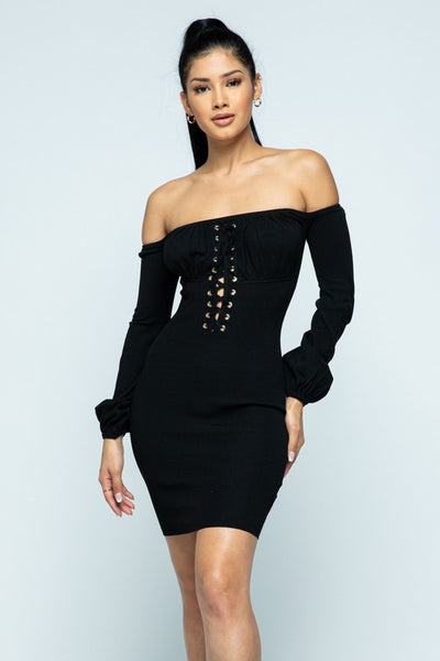 Off Shoulder Balloon Sleeve Dress