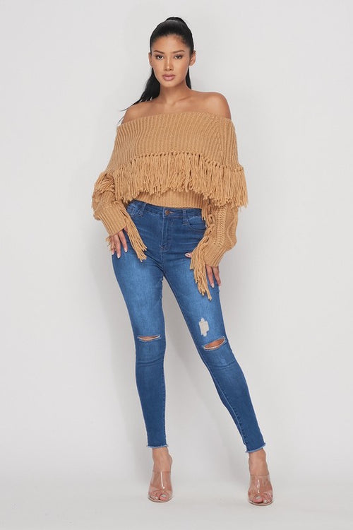 Off Shoulder Crop Sweater with Fringe