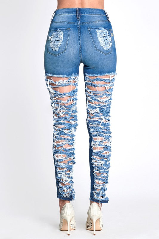 Destroyed Cropped Skinny Jean