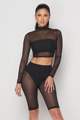 Long Sleeve Mock Neck Cropped Sheer Top