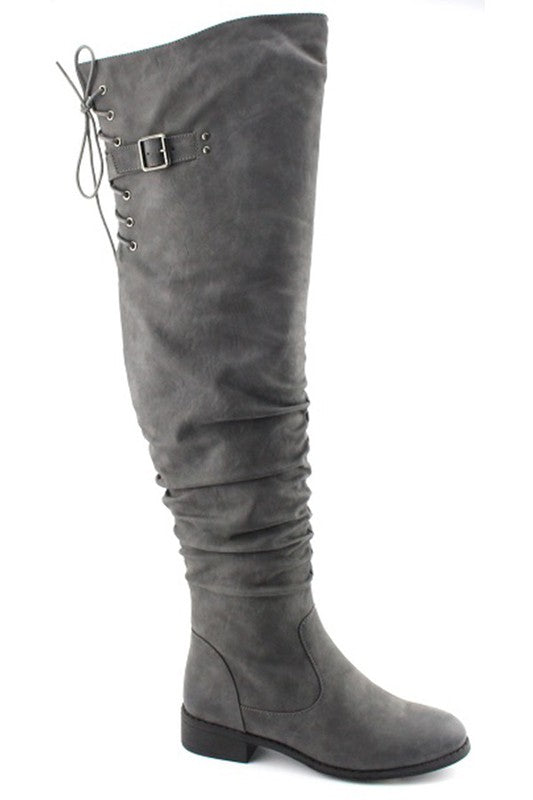Drawstring Tie Thigh High Boot