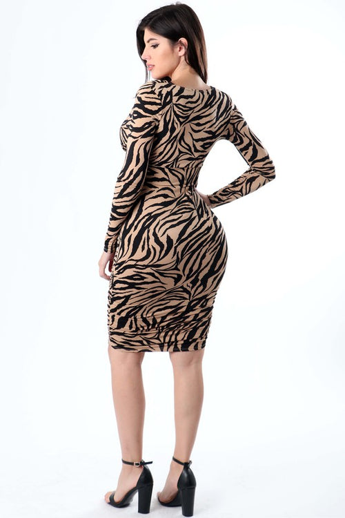 Deep Neck Dress with Shirring