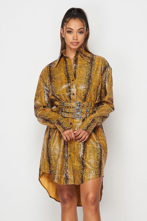 Pleather Snake Print T Shirt Dress with Belt