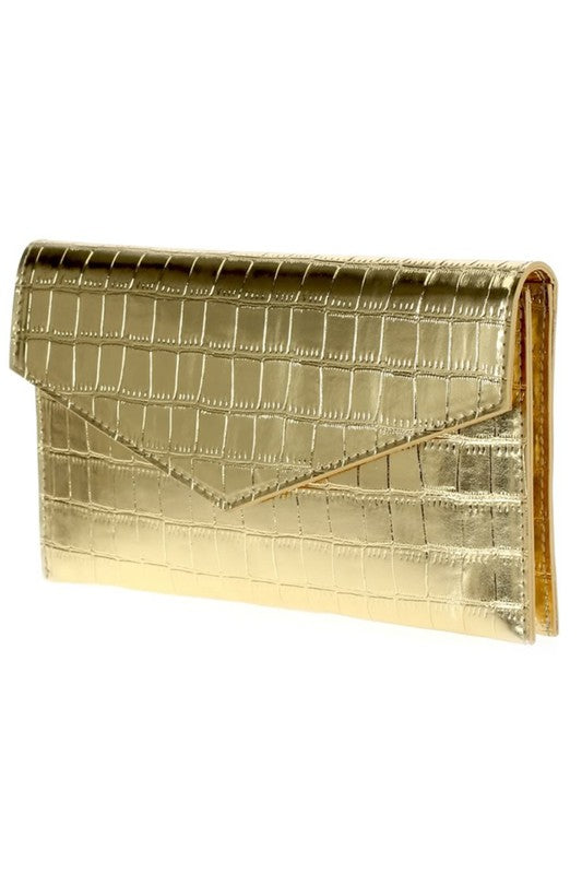 Folded Crocodile Clutch