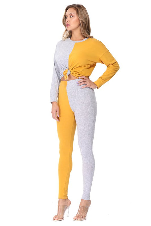 Color Block Sweater Legging Set