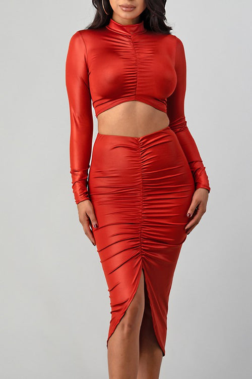 Gathered Long Sleeve Crop Top with Maxi Skirt Set