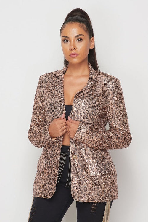 Animal Print Sequin Blazer