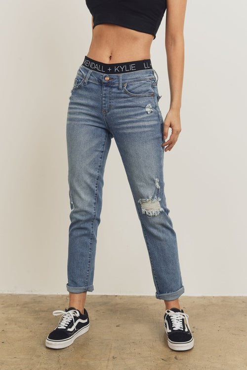 Destroyed Cuffed Jean with Kendall+Kylie Waistband