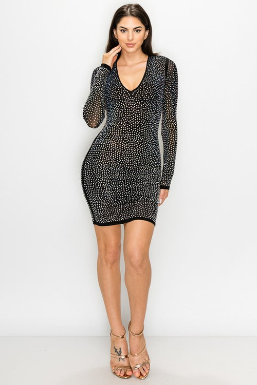 Rhinestone Studded Dress