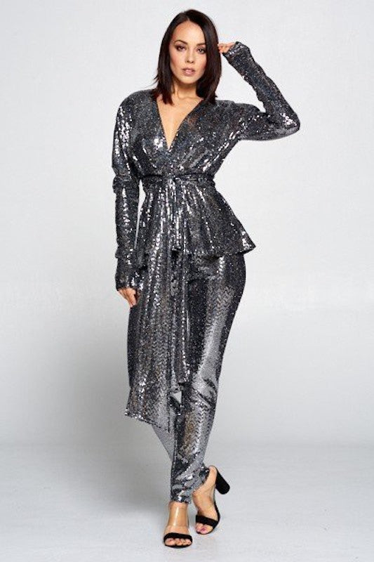 V Neck Sequin Set